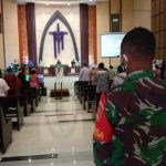 Babinsa Serengan Amankan dan Cek Prokes Ibadah Gereja Kristen Imanuel